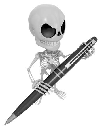 3D Skeleton Mascot is holding a big ballpoint pen with both hands. 3D Skull Character Design Series. Stock Photo