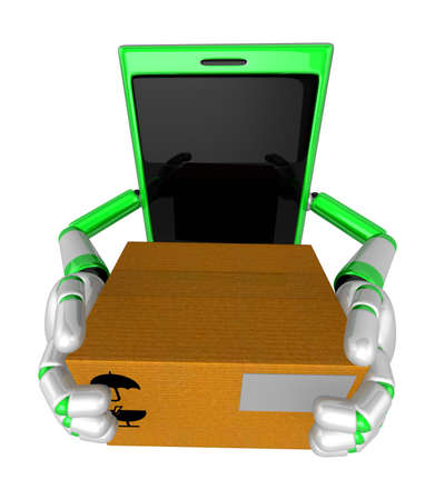 cellularphone: 3D Smart Phone Mascot is holding a large courier box of both hands. 3D Mobile Phone Character Design Series.