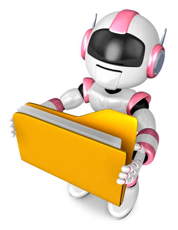 earphone: Folder holding the pink robots. 3D Robot Character Design Stock Photo