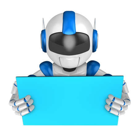 fidelidad: Blue robot Character is holding a blackboard with both hands. Create 3D Humanoid Robot Series.