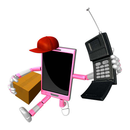 cellularphone: 3D Smart Phone Mascot couples holding a courier box and telephone. 3D Mobile Phone Character Design Series.