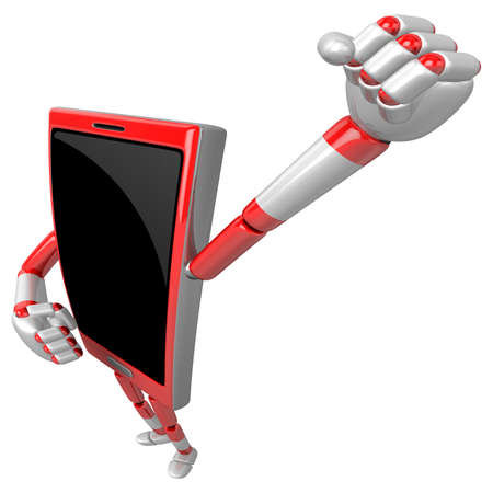 cellularphone: 3D Smart Phone Mascot is taking a gesture of victory. 3D Mobile Phone Character Design Series.