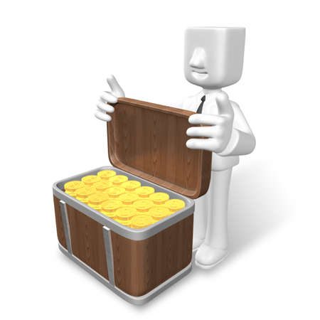 relaciones publicas: 3d business man showing gold coins in  the wooden box