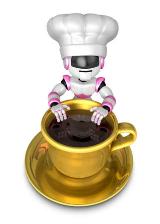 Big cup in the best chef robot. Create 3D Humanoid Robot Series.