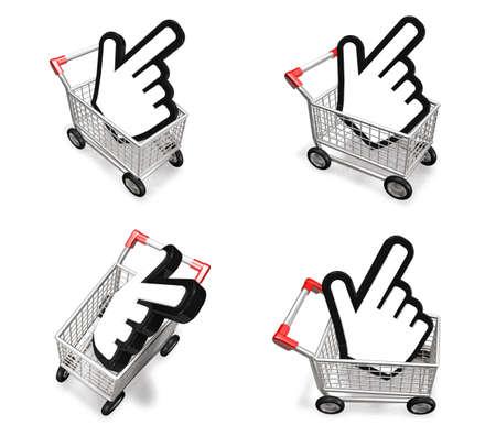 3d shopping cart and big cursor range four set . 3D Icon Design Series.