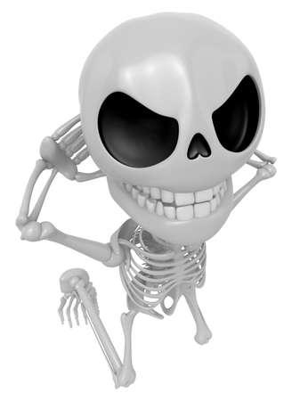 3D Skeleton Maskottchen ist gefangen red-handed. 3D Schädel Charakter Design Serie. Standard-Bild - 83179032