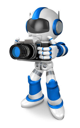 fidelity: Blue robot character the front to shoot the camera toward. Create 3D Humanoid Robot Series.