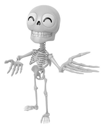 introduce: 3D Skeleton Mascot Suggests the direction with both hands. 3D Skull Character Design Series.
