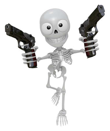3D Skeleton Mascot is cowboys holding an automatic pistol with both hands. 3D Skull Character Design Series. Stock Photo