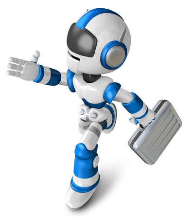 Blue robot character holding a briefcase left going to Running. Create 3D Humanoid Robot Series.