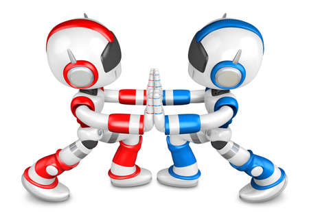 to compromise: Red robots and Blue robots Pushing each other. Create 3D Humanoid Robot Series.