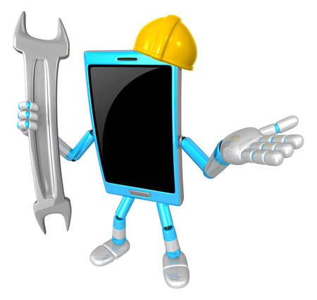 cellularphone: 3D Smart Phone Mascot the right hand guides and the left hand is holding a spanner. 3D Mobile Phone Character Design Series.