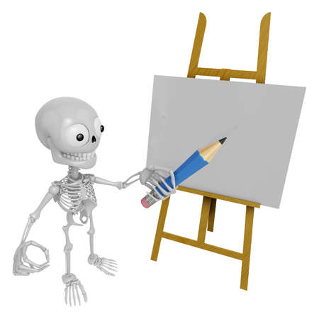 3D Skeleton Mascot is There in front of the easel holding a pencil. 3D Skull Character Design Series.