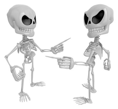 indignation: 3D Skeleton Mascot is wrangling with a person about a matter. 3D Skull Character Design Series. Stock Photo