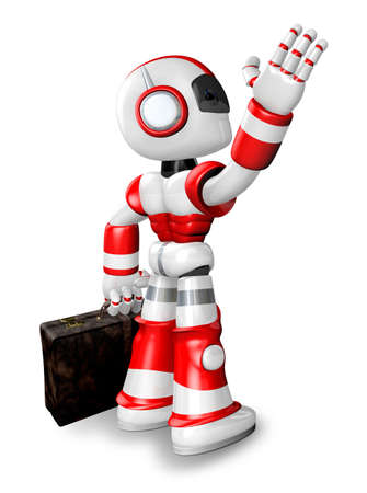 Wave down the Red robot character is carrying a bag. Create 3D Humanoid Robot Series. Stock Photo