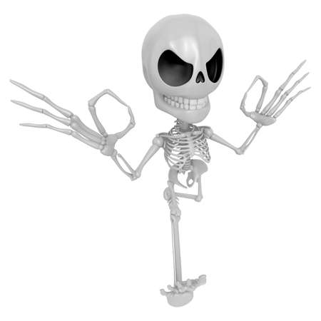 3D Skeleton Mascot It is OK gesture of both hands. 3D Skull Character Design Series. Stock Photo