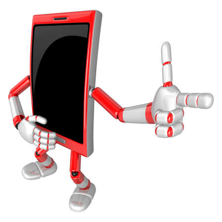 cellularphone: 3D Smart Phone Mascot is points a finger one direction. 3D Mobile Phone Character Design Series.