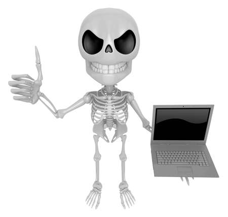 3D Skeleton Mascot the right hand best gesture and left hand is holding a laptop. 3D Skull Character Design Series.