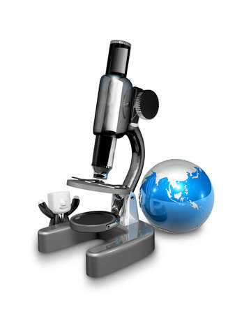 3d white person with a huge microscope. 3D Square Man Series. Stock Photo