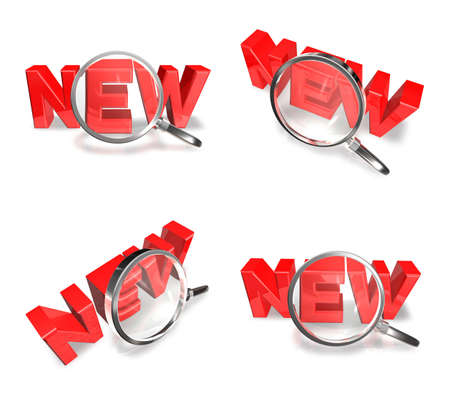 3D NEW and magnifying glass icon. 3D Icon Design Series.