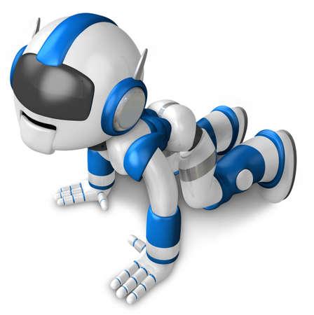 The blue robot hit the dirt. 3D Robot Character Design