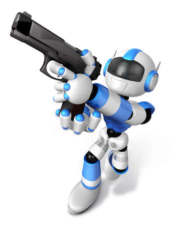 3D blue Robot  fire an aimed shot a automatic pistol. Create 3D Humanoid Robot Series.