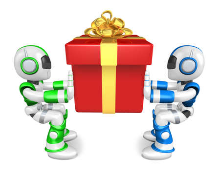 Flexibility as possible a sets of robots Mascot. Create 3D Humanoid Robot Series. Stock Photo