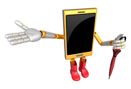 3D Smart Phone Mascot is holding an umbrella. 3D Mobile Phone Character Design Series.
