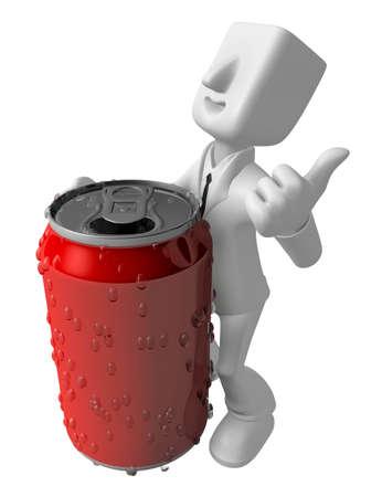 3d 사업가 음료 수 있습니다. 3D 평방 남자 시리즈입니다. 스톡 콘텐츠 - 83178664