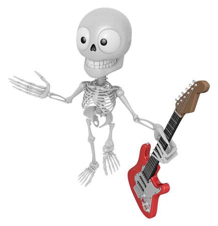 3D Skeleton Mascot is holding electric guitar. 3D Skull Character Design Series.