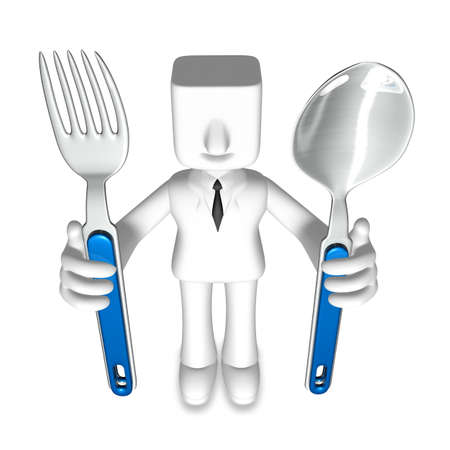 one 3d business man gripping with fork and spoon