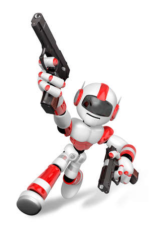 3D Red Robot Mascot holding a Automatic pistol with both hands. Create 3D Humanoid Robot Series. Stock Photo