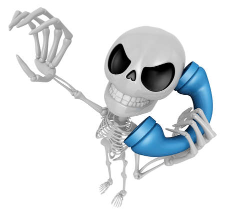 3D Skeleton Mascot is Calling a fit of anger. 3D Skull Character Design Series