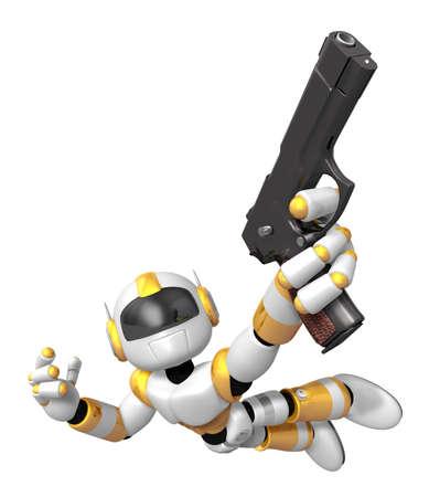 黄色の 3 D ロボット自動拳銃を保持しているジャンプします。3 D ロボット シリーズを作成します。 写真素材