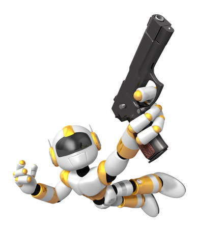 Yellow 3D robot jumping holding an automatic pistol. Create 3D Humanoid Robot Series.