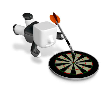 3D Business man with a target and arrows. 3D Square Man Series. Stock Photo