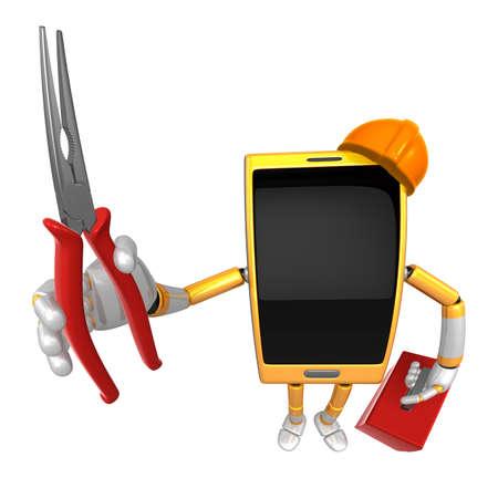 alicates: Mascota 3D Smart Phone con una nariz solitaria y una caja de herramientas. Serie del diseño del carácter del teléfono móvil 3D. Foto de archivo