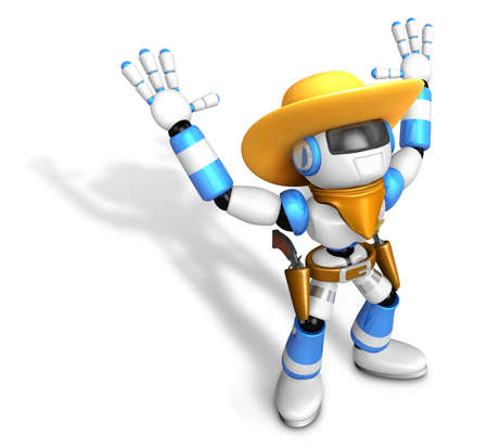 combatant: 3D Blue Sheriff robot with both hands in a gesture of surrender. Create 3D Humanoid Robot Series. Stock Photo