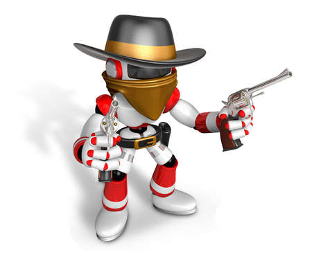 The 3D Red Robot villain holding a revolver gun with both hands. Create 3D Humanoid Robot Series.