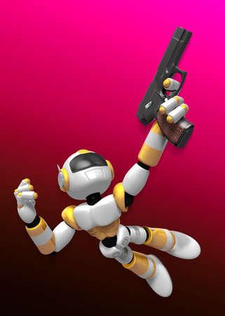 3 D 黄色のロボットは、自動拳銃を保持しているジャンプします。3 D ロボット シリーズを作成します。