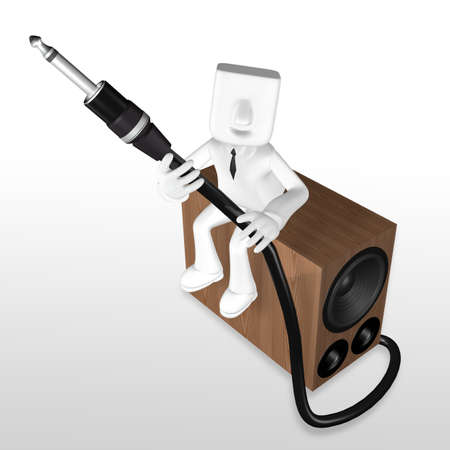 3d business man sitting on the woofer speaker