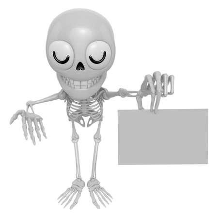 3D Skeleton Mascot the left hand guides and the right hand is holding a business cards. 3D Skull Character Design Series.