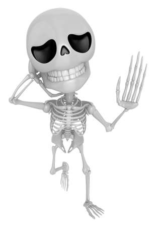3D Skeleton Mascot has a sore throat. 3D Skull Character Design Series. Stock Photo