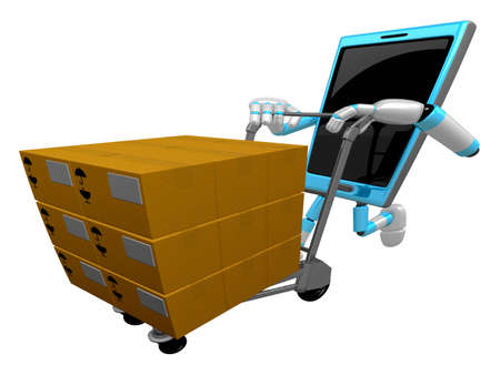 cellularphone: 3D Smart Phone Mascot is pushing trolleys courier. 3D Mobile Phone Character Design Series. Stock Photo