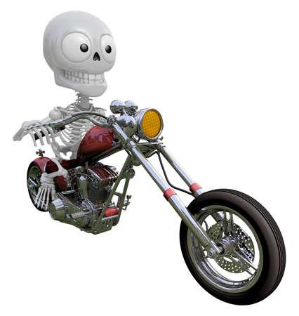 3D Skeleton Mascot is motorbikes driving. 3D Skull Character Design Series.