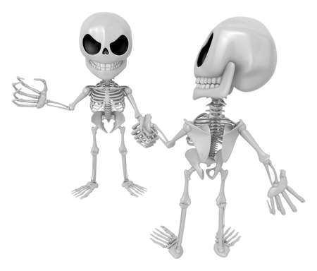 3D Skeleton Mascot is Competitors will shake the false divide each other. 3D Skull Character Design Series. Stock Photo