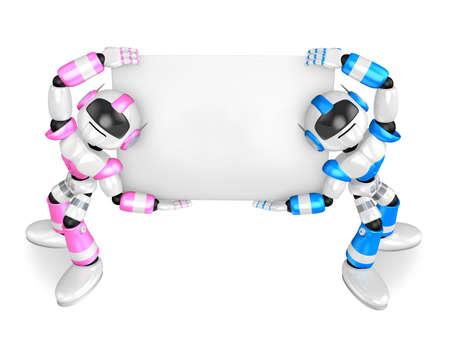 Lift a Robots board  Holding. Create 3D Humanoid Robot Series. Reklamní fotografie