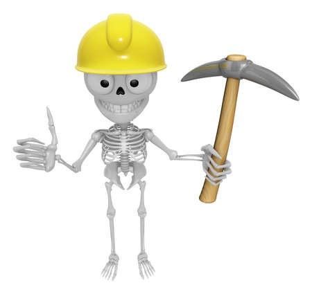 3D Skeleton Mascot is holding electric pickax. 3D Skull Character Design Series. Stock Photo
