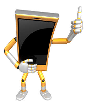 cellularphone: 3D Smart Phone Mascot the hand best gesture. 3D Mobile Phone Character Design Series.