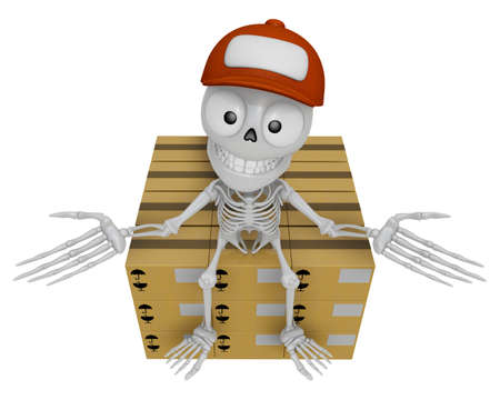 3D Skeleton Mascot is siting on top of the delivery boxes. 3D Skull Character Design Series.